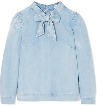 Ulla Johnson Wes Bow-embellished Denim Blouse - Light denim