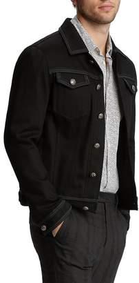 John Varvatos Collection Leather & Satin-Trimmed Trucker Jacket