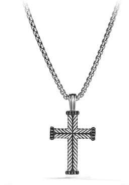 David Yurman Davidyurman Chevron Cross Pendant With Black Diamonds