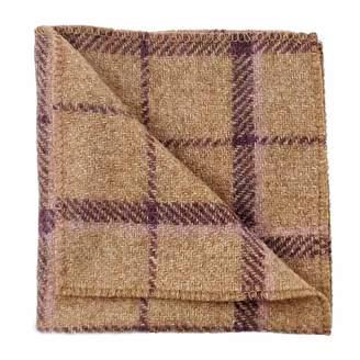 N'damus London Regent Tan & Purple Herringbone Wool Pocket Square