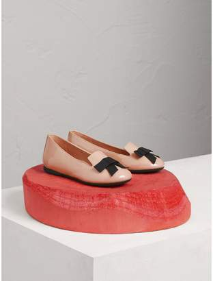Burberry Bow Detail Patent Leather Ballerinas