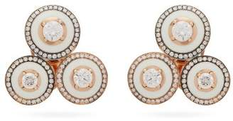 Selim Mouzannar Mina Diamond & 18kt Rose Gold Earrings - Womens - White