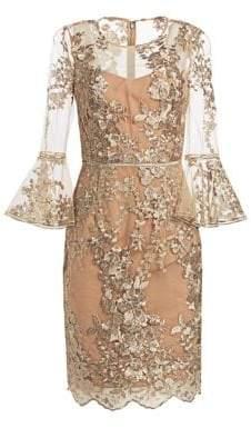 David Meister Illusion Floral Lace Sheath Dress