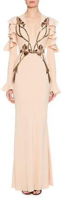 Alexander McQueen Deep-V Long-Sleeve Orchid-Embroidered Column Evening Gown