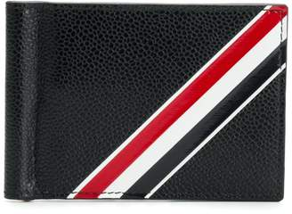 Thom Browne Diagonal Intarsia Stripe Money Clip Wallet In Pebble Grain Leather