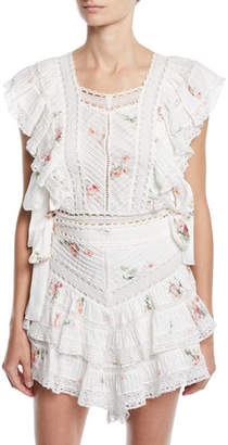 Zimmermann Heathers Pintuck Floral Cropped Ruffle Blouse