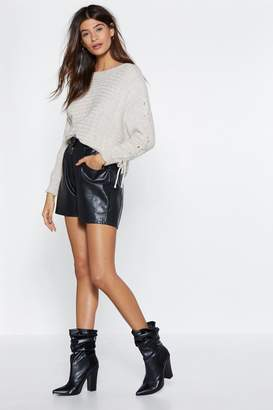 Nasty Gal Get Knit Together Lace-Up Sweater