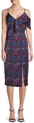 Rachel Roy Asymmetric Ruffle Front Printed Dress