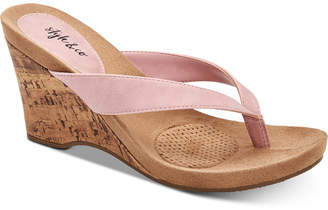 Style&Co. Style & Co Chicklet Wedge Thong Sandals, Women Shoes