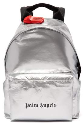 Palm Angels Logo Print Metallic Coated Cotton Backpack - Mens - Silver