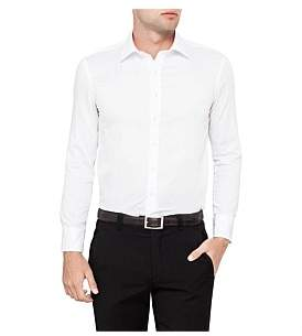 Van Heusen Textured Plain Double Cuff Slim Fit Shirt