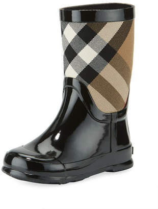 Burberry Rainmoor Check Rubber Rainboot, Black, Toddler Sizes 7-10