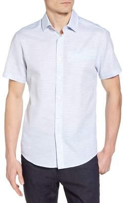 Vince Camuto Slim Fit Stripe Short Sleeve Sport Shirt