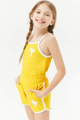 Forever 21 Girls French Terry Palm Tree Shorts (Kids)