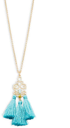 RJ Graziano ?Long Goldtone Tassel Pendant Necklace