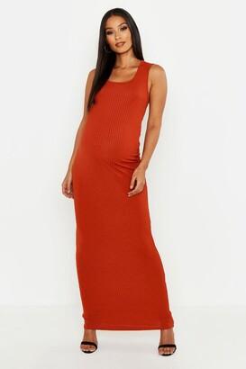 boohoo Maternity Scoop Rib Maxi Dress