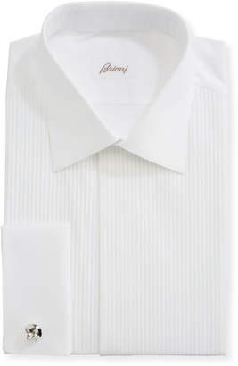 Brioni Pleated Poplin French-Cuff Dress Shirt