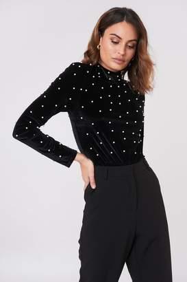 boohoo Pearl Embellished Bodysuit Black