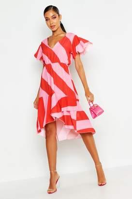 boohoo Woven Stripe Midi Dress