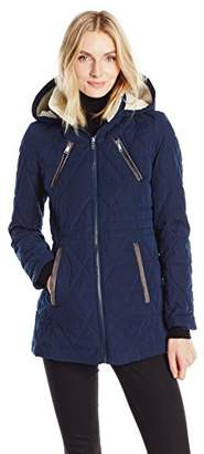 Nautica Women's Micro Fiber Quilted Jacket W/ Hood $109 thestylecure.com