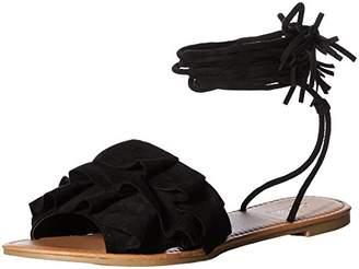 Qupid Women's Lace up Ruffles Flat Sandal