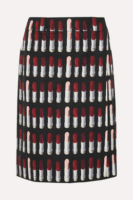 Prada Printed Cotton-poplin Wrap Skirt - Black