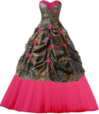 CutieTell Women's Sweetheart Ball Gown Appliques Camouflage Wedding Dresses For Bride US