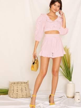 Shein Lace Trim Crop Top & Tie Front Ruffle Shorts Set
