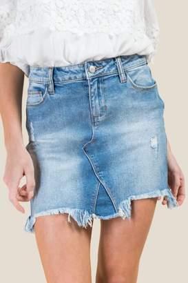 francesca's Harper Medium Chewy Hem Denim Skirt - Medium Wash