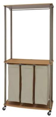 Laundry Center Sorter with Hanging Rod in Light Ash