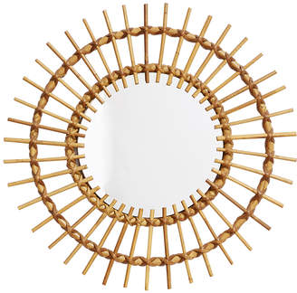 Rejuvenation French Modern Round Mirror with Lashed Bamboo Frame