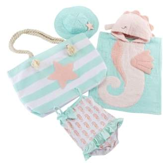 Baby Aspen Seahorse Hooded Towel, Swimsuit, Sun Hat & Tote Set