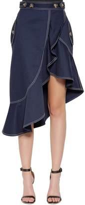 Self-Portrait Ruffled Cotton Canvas Skirt