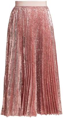MSGM Sequinned pleated midi skirt