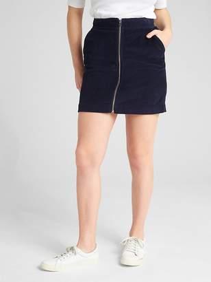 Gap Zip-Front Cord Mini Skirt