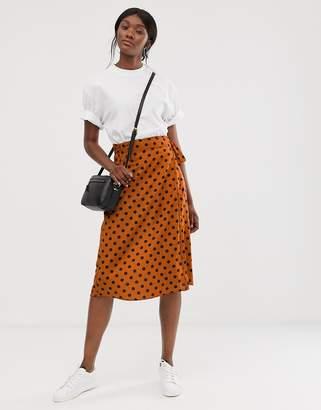 Only polka dot wrap midi skirt