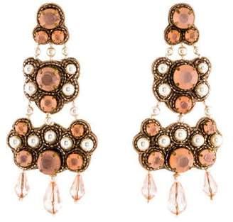 Tory Burch Crystal & Faux Pearl Beaded Chandelier Earrings