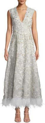 J. Mendel Sleeveless V-Neck Floral-Embroidered Feather Hem Gown