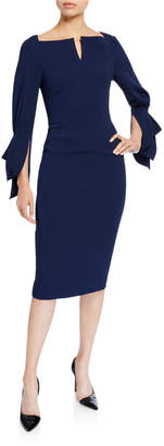 Roland Mouret Rosslare Long-Sleeve Button-Waist Dress