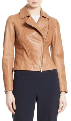 Women's Boss Sandalia Lambskin Leather Jacket $895 thestylecure.com