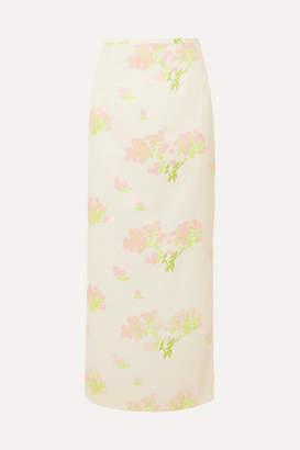 Bernadette Norma Floral-print Satin Skirt