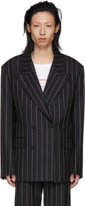 Versace Black Wool Logo Pinstripe Blazer