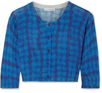 Altuzarra Anita Cropped Checked Cotton And Silk-blend Cardigan - Blue
