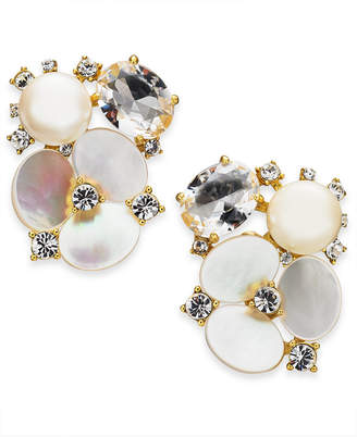 Kate Spade Gold-Tone Crystal & Imitation Mother-of-Pearl Flower Stud Earrings