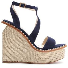 Paloma Barceló Woman Braided Leather-trimmed Suede Sandals Navy Size 37 Paloma Barceló zHh1t