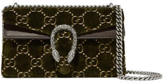 Gucci Dionysus Leather-trimmed Embossed Velvet Shoulder Bag - Army green
