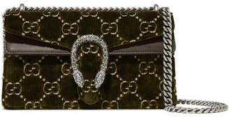 Gucci Dionysus Leather-trimmed Embossed Velvet Shoulder Bag - Army green