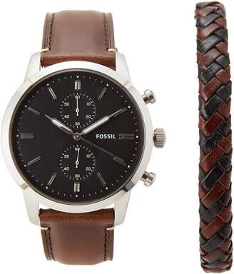 Fossil FS5394 Silver-Tone & Brown Watch & Bracelet Set