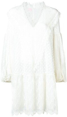 Giamba v-neck embroidered lace dress