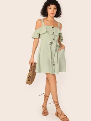 Shein Cold Shoulder Ruffle Trim Patch Pocket Belted Dress